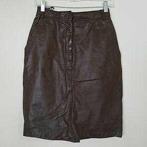 Vintage genuine leather Dark Brown Skirt